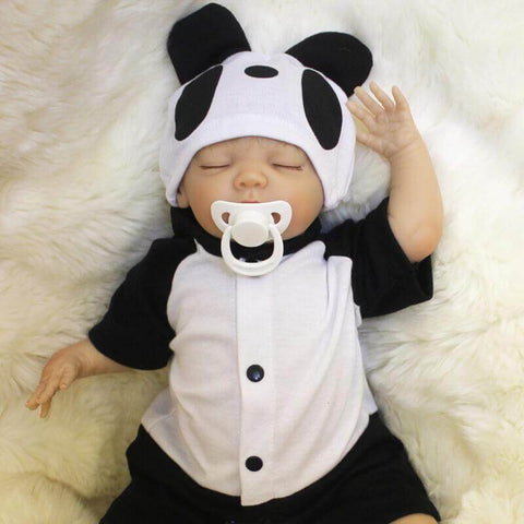 Levy: Panda Suit Sleeping Baby Doll Boy - Newborn Doll