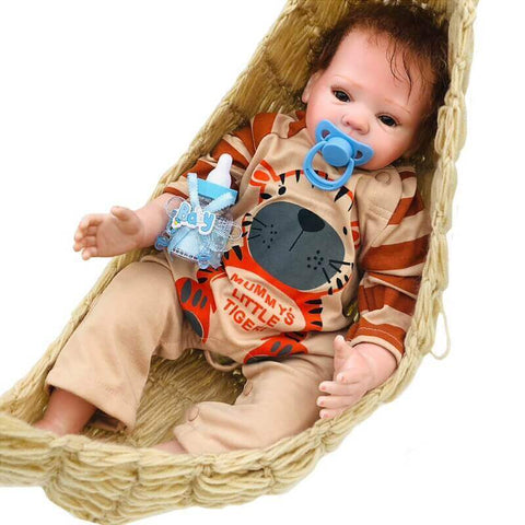 "Riley: 18"" Brown Eyes Sweetest Realistic Newborn Baby Boy Doll - Kiss Reborn"