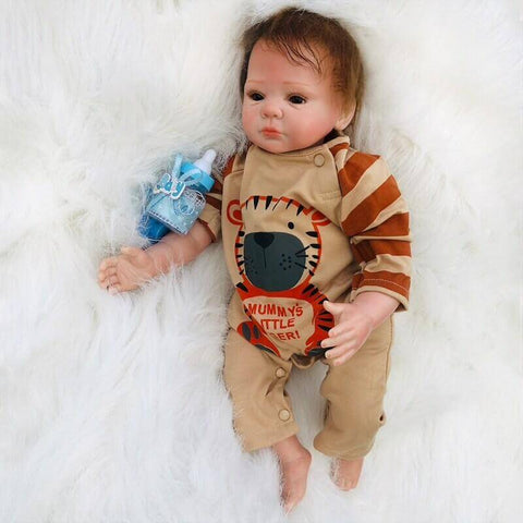"Riley: 18"" Brown Eyes Sweetest Realistic Newborn Baby Boy Doll - Newborn Doll"