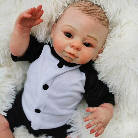 "Joey: 18"" Brown Hair Premium Reborn Baby Boy Toddler Doll - Kiss Reborn"