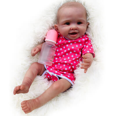 Lucy: Brown Eyes Reborn Baby Girl for Age 14+ - Newborn Doll