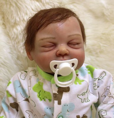 Ben: Cheeky Faced Close Eyes Reborn Doll - Kiss Reborn