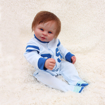 "Tim: 20"" Hand Set Big Blue Eyes Realistic Silicone Baby Doll Boy - Kiss Reborn"
