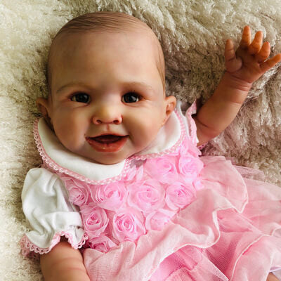 Armani: Cute Lips Black Eyes Baby Doll Girl - Newborn Doll