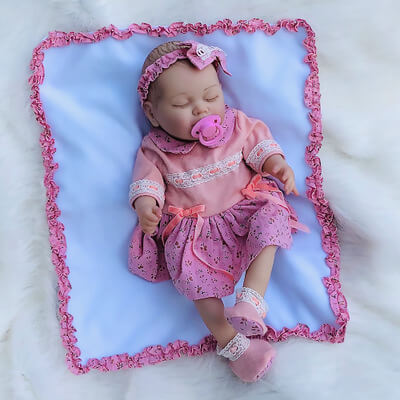 "Ada: 20"" Sleeping Quiet Chubby Silicone Baby Doll Girl - Newborn Doll"
