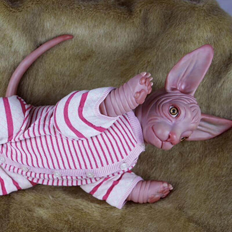 "20"" Yellow Eyes Reborn Sphynx Cat Baby Doll - Newborn Doll"
