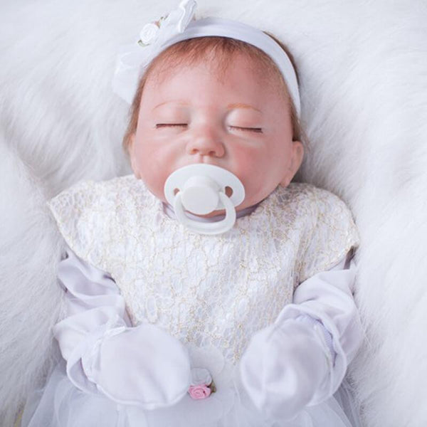 "Celeste: 22"" Closed Eyes Future Reborn Baby with a Pacifier - Newborn Doll"