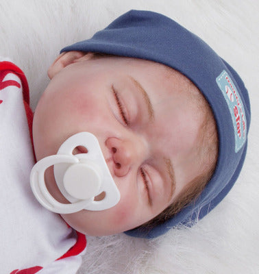 "Jaxon: 22"" High-quality Tiny Feet Collectible Sleeping Real Baby Doll Boy - Kiss Reborn"