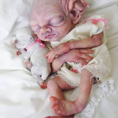 "Brandon: 22"" Big Ears Sleeping Alien Reborn Doll Boy - Newborn Doll"