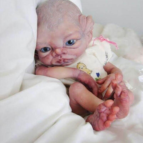 Zack: White Eyebrows Big Eyes Alien Reborn Baby Doll - Newborn Doll