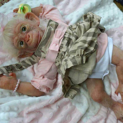 Ape Alice: White Hair Realistic Reborn Ape Doll - Kiss Reborn