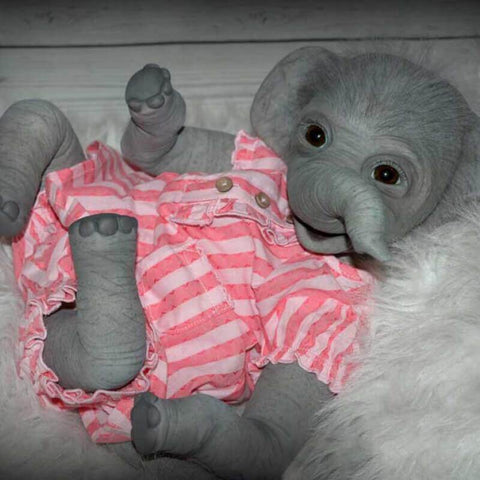 "22"" Female Elephant Reborn Doll Gaia - Newborn Doll"