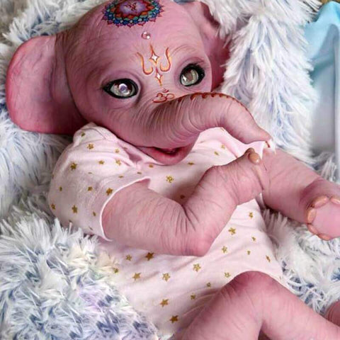 Melinda: Long Trunk Pink Body Elephant Newborn Baby Doll - Kiss Reborn