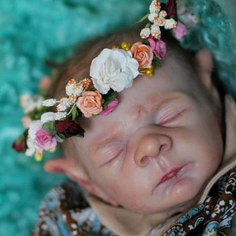 Jimmy: Garland Crown Realistic Sleeping Reborn Baby Boy - Kiss Reborn