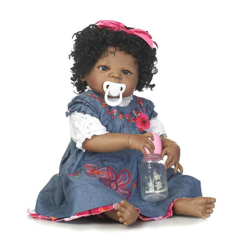 "22"" Curly Hair Lifelike Black African American Doll Belle with Pacifier - Kiss Reborn"