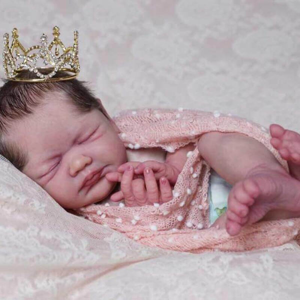 "Sleeping Prince Tony: 22"" Blushed Face Reborn Baby Boy with a Crown - Newborn Doll"