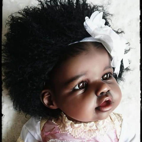 Merry: Curly Hair Black Skin African American Reborn Girl - Kiss Reborn