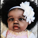 Merry: Curly Hair Black Skin African American Reborn Girl - Newborn Doll