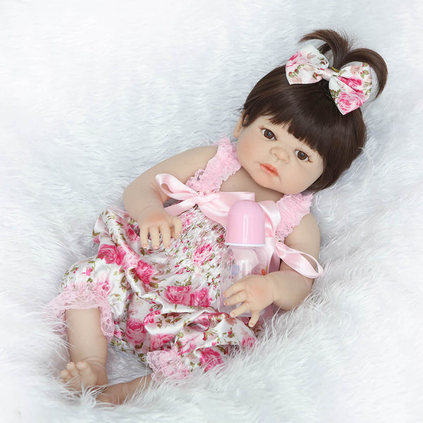 Short Hair Real Life Full Body Silicone Baby Girl Grace - Newborn Doll
