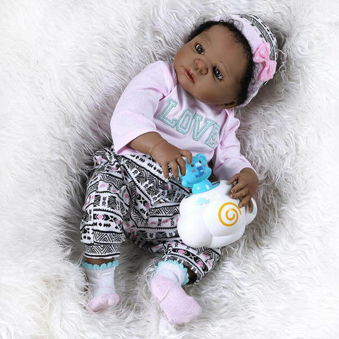 Gia: Inter-racial Cute Little Girl African American Baby Doll - Newborn Doll
