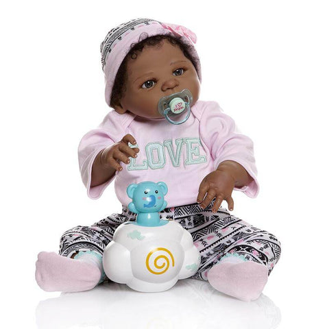 Gia: Inter-racial Cute Little Girl African American Baby Doll - Kiss Reborn