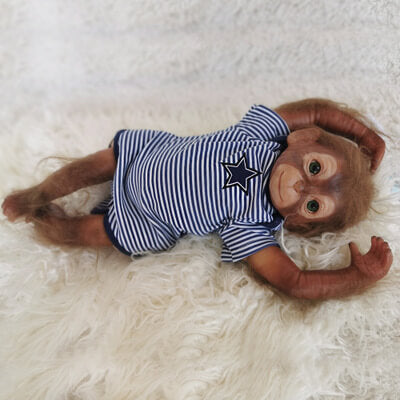 "Alexander: 20"" Green Eyes Cheeky Cute Monkey Baby Doll - Newborn Doll"