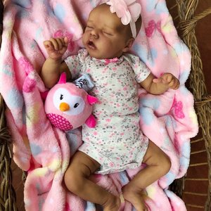 Flora: Adorable Bountiful Sleeping African American Baby Girl - Newborn Doll