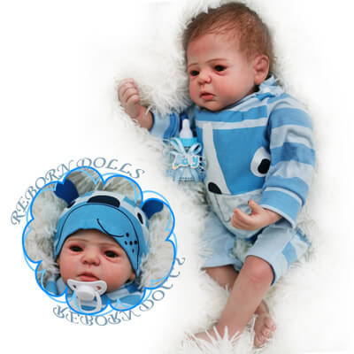 "Bard: 22"" Fussy Realistic-looking Newborn Baby Doll Boy - Kiss Reborn"