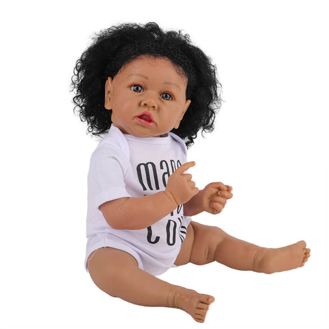 Cathy: Big Eyes African American Reborn Baby Girl Toddler - Newborn Doll