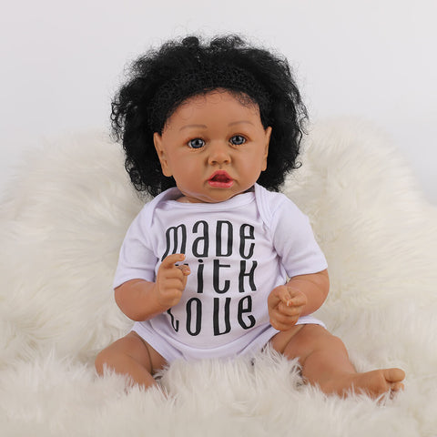 Cathy: Big Eyes African American Reborn Baby Girl Toddler - Kiss Reborn