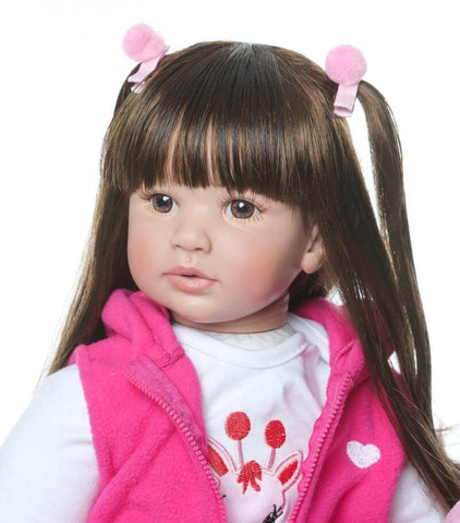"22"" Long Hair Cloth Body Reborn Toddler Tina - Newborn Doll"