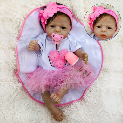 "Carolyn: 22"" Sweet Timid Dark Eyes Reborn Baby Doll Girl - Kiss Reborn"