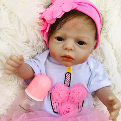 "Carolyn: 22"" Sweet Timid Dark Eyes Reborn Baby Doll Girl - Newborn Doll"