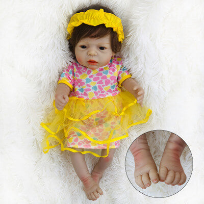 Dana: Pretty Brown Eyes Reborn Toddler Doll Girl - Kiss Reborn