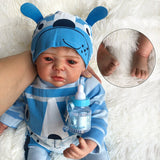 Ethan: Full Vinyl Lovely Liquid Amber Eyes Reborn Baby Doll Boy - Kiss Reborn
