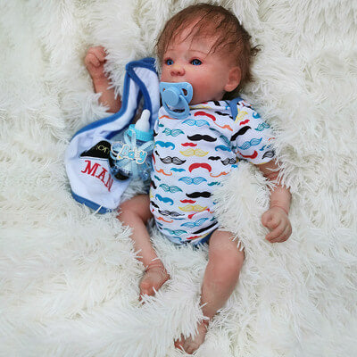 Fabian: Partial Vinyl Cloth Body Open Mouth Baby Doll Boy - Kiss Reborn