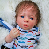 Fabian: Partial Vinyl Cloth Body Open Mouth Baby Doll Boy - Newborn Doll