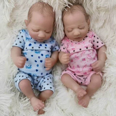 "Cora & Cosmo: 10"" Sleeping Mini Cute Twin Reborn Baby Doll - Kiss Reborn"