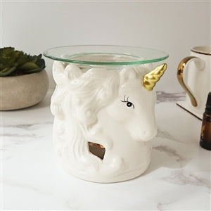 Ceramic Unicorn Head Wax Melter/Oil Burner - White