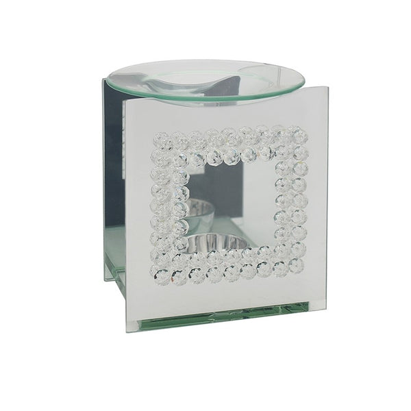 Mirror Glass and Square Shaped Crystal Design Oil Burner