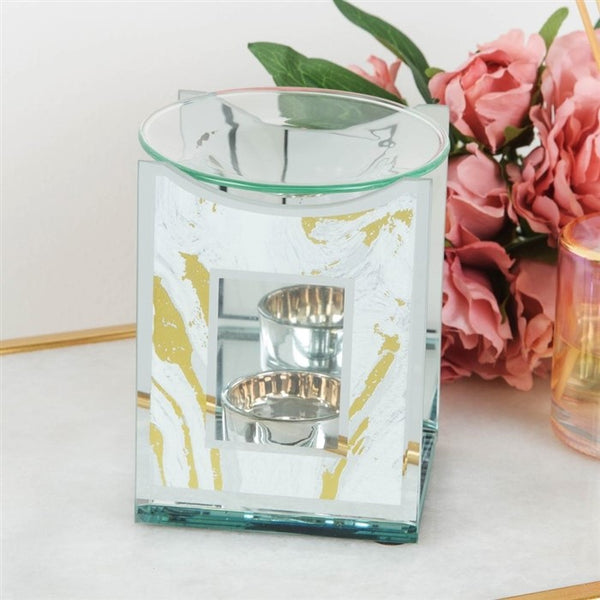 White and Gold Marble Glass Oil Burner