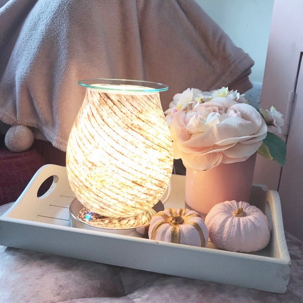 Pretty neutral patterned touch oil/wax warmer lamp