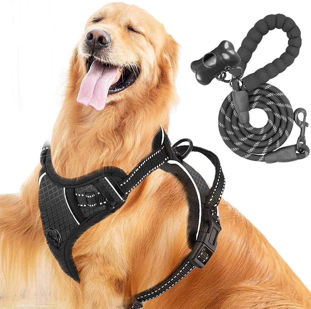 MerryBIY Dog Harness&Leash, No Pull Dog Harness Reflective Adjustable Vest with Handle& Front and Back Lead Attachments Padded Puppy Pet Outdoor Chest Harness for Small Medium Large Dogs Training Walking