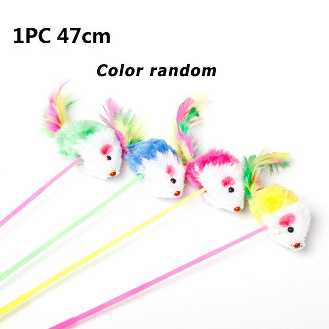 MerryBIY 1PC 5Pcs Cat Toys Weiche bunte Cat Feather Bell Rod Spielzeug für Cat Kitten Lustiges interaktives Spielzeug Pet Cat Cat Supplies