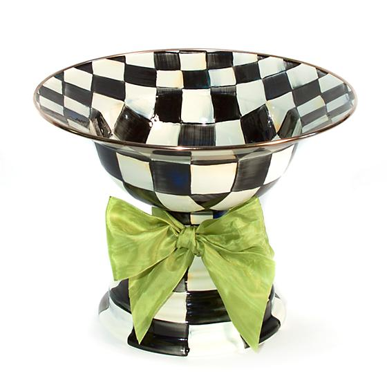 MacKenzie-Childs Courtly Check Enamel Compote with Green Bow - Large