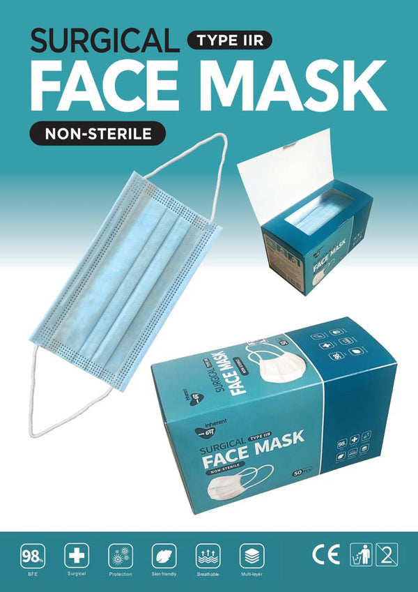 Inherent Surgical Face Masks, Type 11R, Non Sterile, 50 Pieces