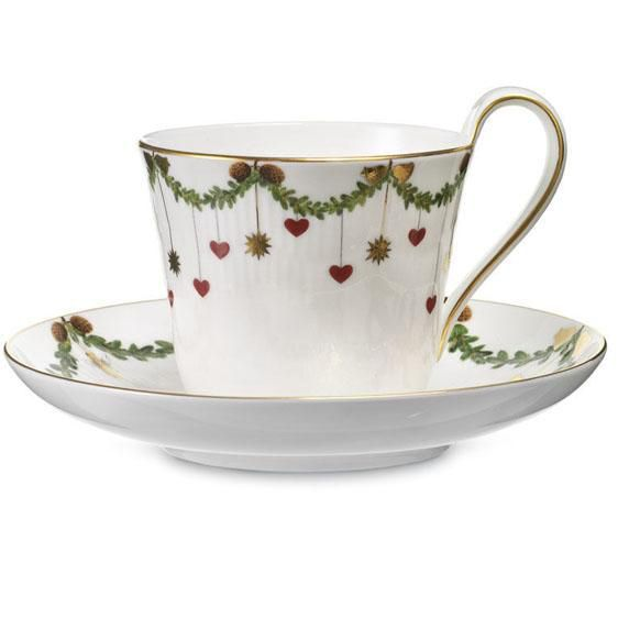 Royal Copenhagen Cup with Saucer - Star Fluted Christmas (High Handle)