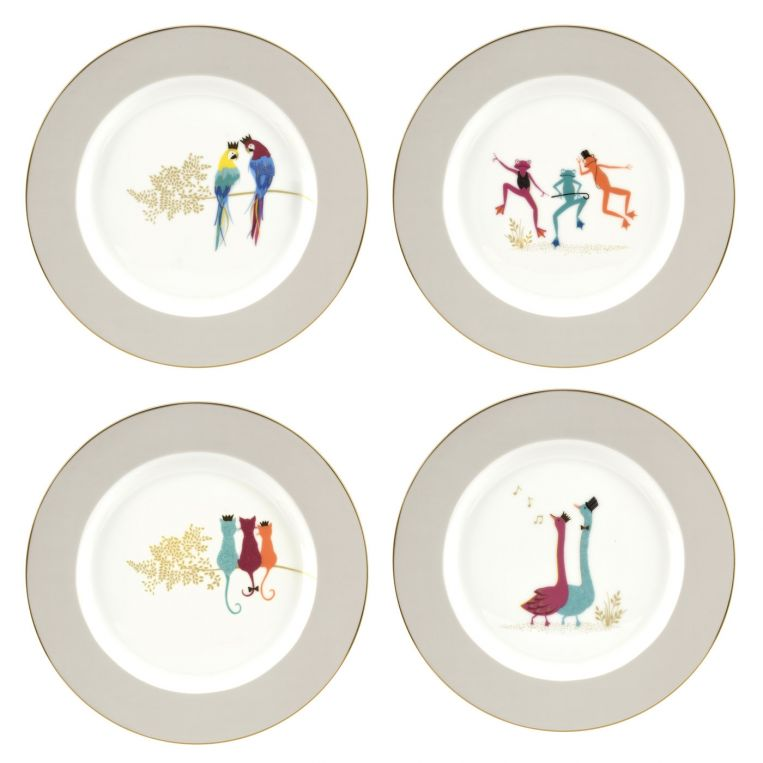 Portmeirion Sara Miller Piccadilly Dessert Plate, Set of 4