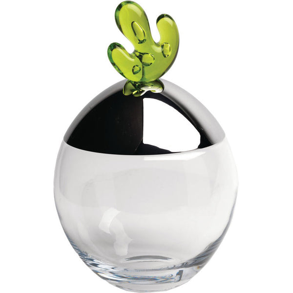 Alessi Big Ovo Biscuit Box in Crystalline Glass and Green Knob