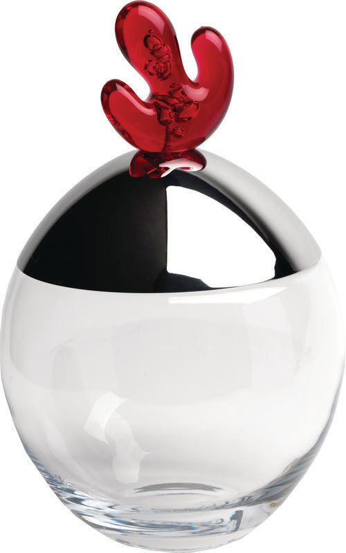 Alessi Big Ovo Biscuit Box in Crystalline Glass and Pomegranate Knob